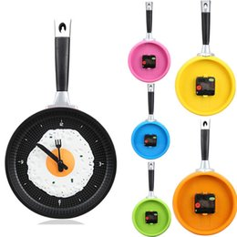 Wholesale Funny Fried Egg Pan Shaped Clock Wall Clock Decoration EMS DHL for Area K5BO