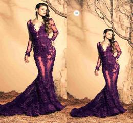 Descuento sirena capilla entrenan púrpura Purple Lace sirena 2015 Ziad Nakad vestidos de noche Sexy Sheer cucharada rebordeado Appliques Capilla tren mangas largas formal vestidos de baile más tamaño