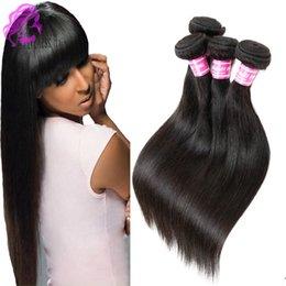 Peut teindre remy extensions de cheveux en Ligne-7A cheveux perruque vierge paquets droits 3 pcs extensions remy non traitées de cheveux humains naturelles noir peut être teint de cheveux réels extensions paquets