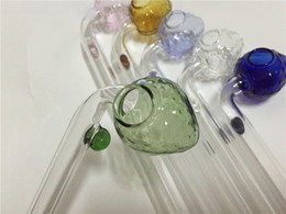 wholesale Colorful 14cm Strawberry pyrex Glass Oil burners colorful glass bubbler smoking pipes for hookah