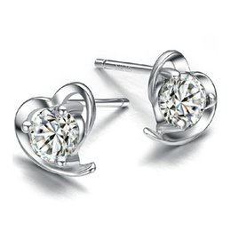 925 sterling silver items crystal jewelry vintage stud earrings wedding charms clear diamante heart shaped new