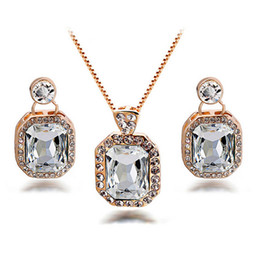 Austrian Crystal Necklace Earrings Sets Geometry Full Rhinestone Alloy Jewelry Set For Females Wedding Jewelry 1120