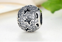 Wholesale Fits Pandora Bracelets mm hollow butterfly silver charms Silver Beads Cubic Zirconia Sterling Silver Charms for DIY Jewelry