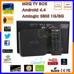 Wholesale USA DHL Free Ship MXQ Amlogic S805 Quad Core Media Play With KODI Add ons Loaded Smart Android Kitkat TV BOX DHL