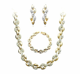 Top Fashion Jewelry Two Tone Zinc Alloy and CZ Crystal Necklace Bracelet and Earrings Jewelry Set