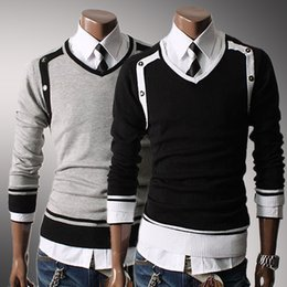 Wholesale autumn new Korean men s casual exclusive characteristics of business services V neck knit mens sweaters