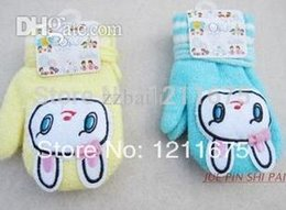 Wholesale-3PAIRS LOT Hot selling Rabbits Decor Baby Gloves Full Fingers Halter-neck Thermal Gloves With Sound