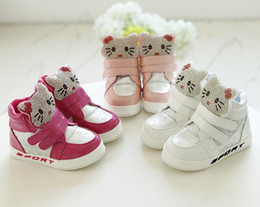 Wholesale-Korean fashionable casual leather shoes rhinestone cute cat soft bottom autumn paragraph girls high cute baby girl shoes