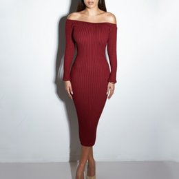 Sexy Club Dress 2018 Women Winter Party Dresses Off The Shoulder Knitting Sweater Bodycon Long Maxi Dress Vestidos