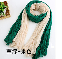Wholesale Crinkle Cotton Scarves Wholesale - Girl Women's Large Cotton Linen Long Crinkle Scarf Wraps Shawl Colorful Candy