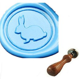 Wholesale Best Quality Vintage Lovely Custom Picture Logo Wedding Invitation Rabbit Sealing Wax Stamp Set With Rosewood Handle