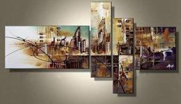 Ville peintures à l'huile de paysage à vendre-Peinture à l'huile moderne faite main de toile de décoration de maison de mur de 100% Peintures à l'huile abstraites de paysage de nouvelle ville de 2014 5 art de mur de panneau