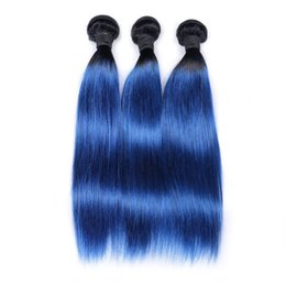 Straight Peruvian dark roots blue human hair 3 bunldes human hair blue ombre weave 2 tone ombre blue bundles Colorful Hair