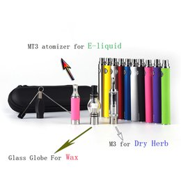 Wholesale M3 in Vaporizer EVOD Battery Electronic Cigaretter For E liquid Wax And Dry Herb Kit MT3 Atomizer GLass Globe Huge Vapor