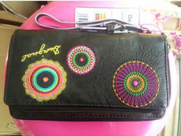 Wholesale 2015 desigual Clutch ladies purse multi Card Wallet purse Handbag Handbag PU embroidery