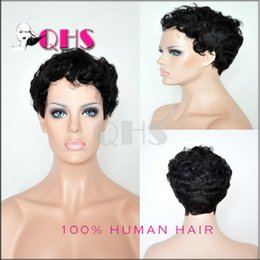 7A short curly Glueless Human Hair Wigs Wavy short curly wigs for black women best curly wigs