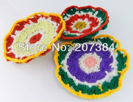 Wholesale Original Sweet flower mixed colours knitting wool salver Cup bowl dish Pads bowl Mat Insulation Coaster