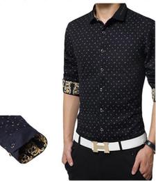 High quality New men shirts printed men's dress shirt long sleeve black slim fit free shipping