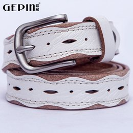 Wholesale Lady Jeans Belt - Google product first layer of leather ladies leather belt pin buckle thin belt Korean wild jeans belt genuine mail