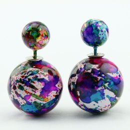 Wholesale High Quality New Design Double Sided Earrings for Women Acrylic mm mm Bead Stud Earrings for You