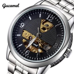 Wholesale Top Selling Coupon Mechanical Watches Luxury Brand Wristwatch Crystal Mirror Leather Strap Watch Mens Casual Watch