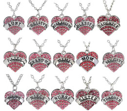 Wholesale New Pink Rhinestones Heart Pendant Necklace With Mom Faith Nurse Teacher Sister Believe Etc Words Letters Fit For Family Gift