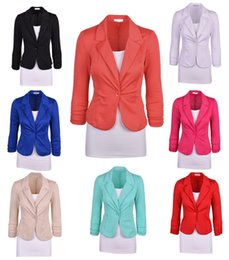 Wholesale Casual Cotton Blazer Womens - Womens Coat Clothing One Button Lapel Casual Long Sleeve Candy Suits Blazer Work Casual Basic Jacket Outerwear Coats