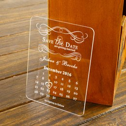 Wholesale 50 Personalised Engraved Acrylic Save the Date Wedding Stationary cards