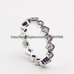 Wholesale New S925 Sterling Silver European Pandora Style Jewelry Alluring Brilliant Princess with Clear CZ Ring Fashion Charm Ring