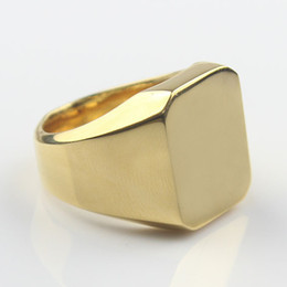 Gold Fashion Men's High Polished Signet Solid 316L Stainless Steel Biker Ring Men's Jewelry