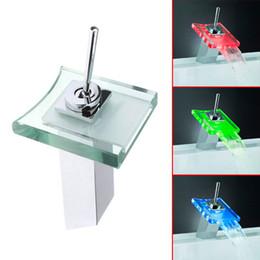 Wholesale MOQ pc drop shipping Bathroom Discount Single Handle Chrome Waterfall Glass LED Faucet