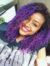 Wholesale ombre black purple wig Dark root Afro Kinky Curly Synthetic Lace front brazilian Wigs African american black women wig baby hair