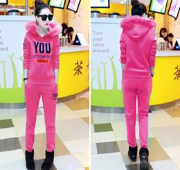 2015 winter new women's loose two suit sleeve to add thick velvet casual hooded fashion sports suit