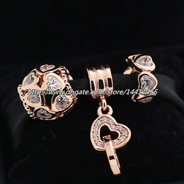 925 Sterling Silver Charms and Rose Gold Plated Bead Set with Charm Box Fits European Pandora Jewelry Charm Bracelets-DS207