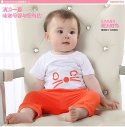 Wholesale boy lace In the summer of new boys and girls two white short sleeved T shirt seven pants Maotou pattern set Baby clothes