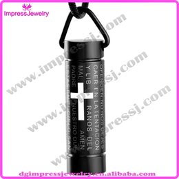 Wholesale IJD2207 L fashion Hot sale Stainless steel Cremation memorial Ash cylinder cross bible pendant necklaces jewelry