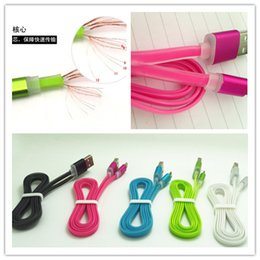 Wholesale 1M3FT Dual color Flat Cable for Micro usb sync data charge for samsung htc aluminium ally head soft cable V8 cord