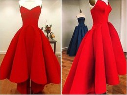 Wholesale 2015 Bright Red Sweetheart Hi Lo Prom Dresses Plus Size Satin Back Zipper Ruffles Gorgeous Sexy Girl Party Evening Gowns High Low Affordable