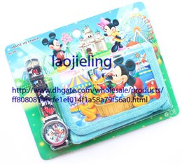 Wholesale 10 Sets Classics Minnie mickey Watches and Purses Wallets Children Gifts Cartoon watches and cartoon wallet, children's toys