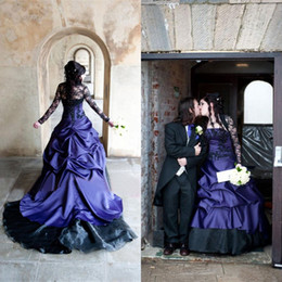 2016 Black and Royal Blue Gothic Wedding Dresses Long Sleeve Jacket Ruched Corset A-line Lace and Satin Halloween Masquerade Formal Gowns
