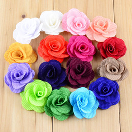 New 160pcs lot Dia.4CM Burlap Small Hair Flower WITHOUT CLIP 16 Colors Flat Back For Baby Girls Headwear DIY Accessories