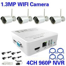 New ! 4 Channels NVR KIT 960P 1.3mp Wireless wifi IP Camera P2P Home alarm video motion sensor CCTV Security Surveillance system