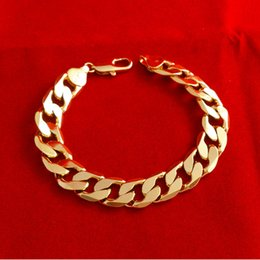 Wholesale - Heavy Mens bracelet 18k Yellow Gold Filled mens chain Bracelet 60cm,12mm 37g fashion jewelry mens jewelry