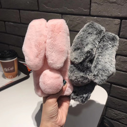 Fashion Soft Rex Rabbit Fur Phone Case Plush Warm Fur Back Cover Phone Case Cover For iPhone x 8 7 6s Plus