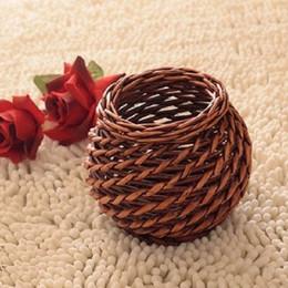 Wholesale Wicker rattan brief vintage small vase fashion antique home decoration crafts rustic