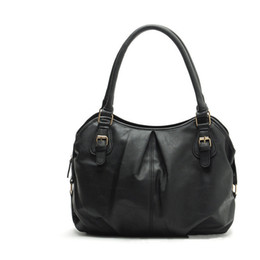 Las mujeres baratas bolsas de cuero negro en Línea-2015 Negro Mujeres Bolso Moda casual de las señoras bolso de las mujeres portátiles bolsos de cuero artificial barato Bolsos mujer