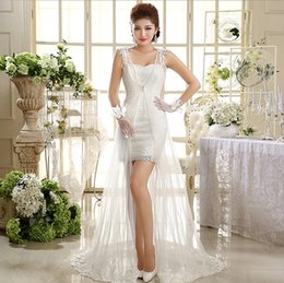 Shanghai Story Elegant Sweetheart Two Piece Lace Mini Trumpet Dress With Wraps For Bride Lace Up Sweep Train