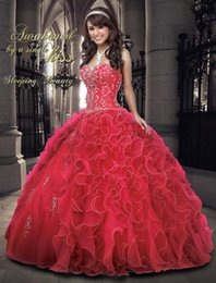 Wholesale 2015 Inspired By Sleeping Beauty Aurora Quinceanera Ball Gowns Dresses Rhinestone Beads Embroidery Sweetheart Piping Organza Prom Gowns