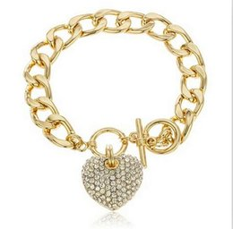 Wholesale 2015 New design Full rhinestone heart bracelets fashion brand K gold plated crystal heart charm braclet bangles for womens ladies