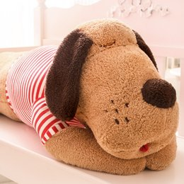 Wholesale Large Doll Heads - Wholesale-size 80 cm new arrived cartoon Dog plush toy Large stripe big head dog doll sleeping pillow cushion Christmas birthday gift